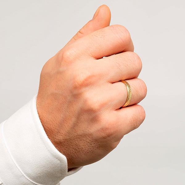 Joyería online alianza de boda Lion puesta hombre