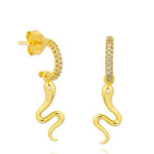 Pendientes oro Budapest serpiente circonita