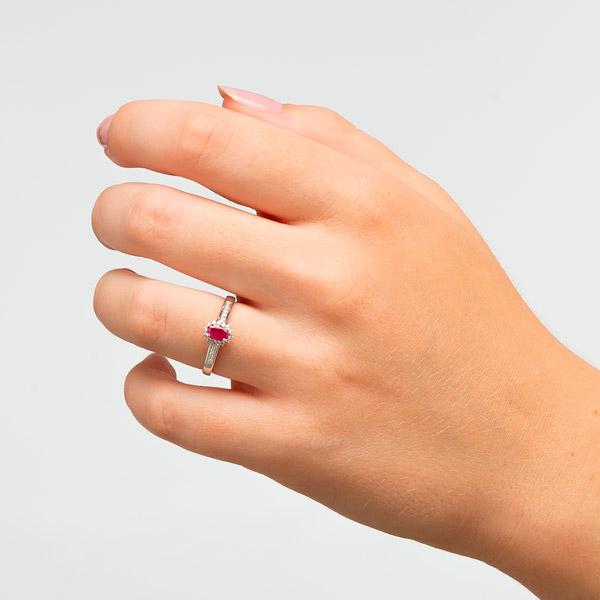 Alianzas de boda con rubí y circonita. Joyería online, Dogma Design