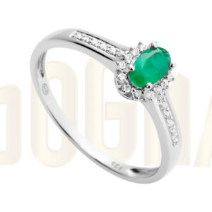 Anillo oro blanco, Esmeralda y diamantes anillo de pedida