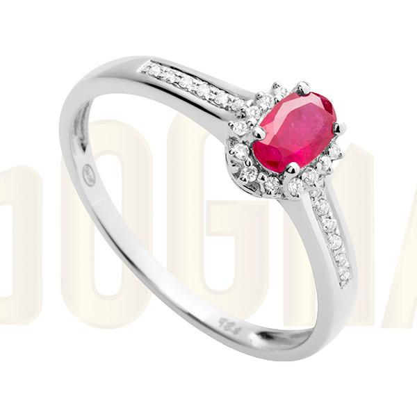 Anillo oro blanco Rubí y diamantes Joyería Online