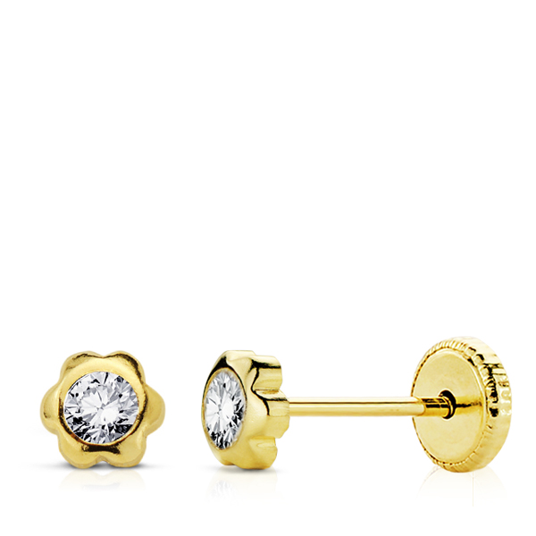 Pendientes de oro flor para bebe