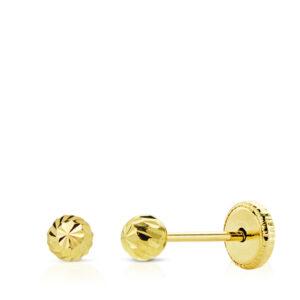 Pendientes de oro bola tallada para bebé