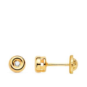Pendientes de oro para bebé diamantes chatón
