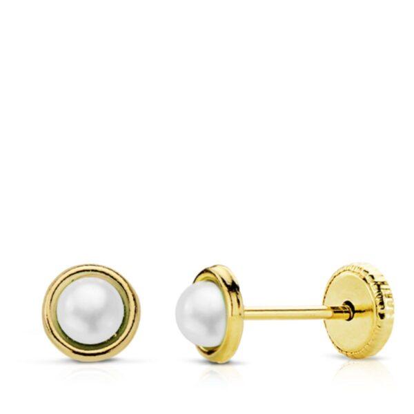 Pendientes de oro media perla para bebe