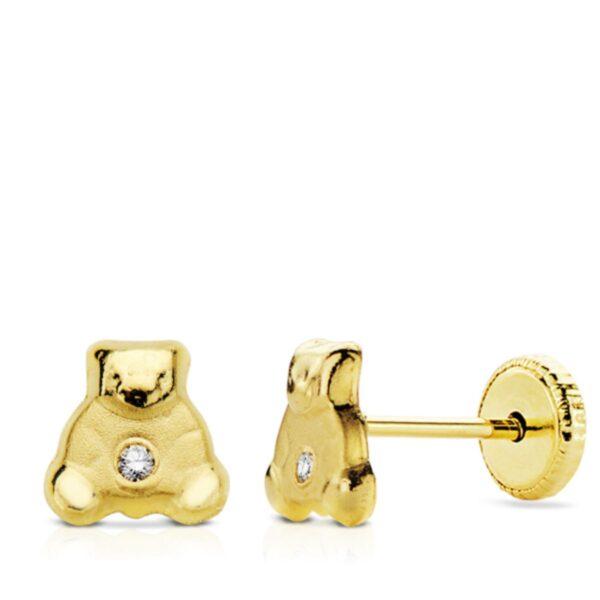 Pendientes de oro oso para bebé
