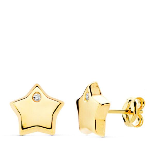 Pendientes de oro estrella circonio