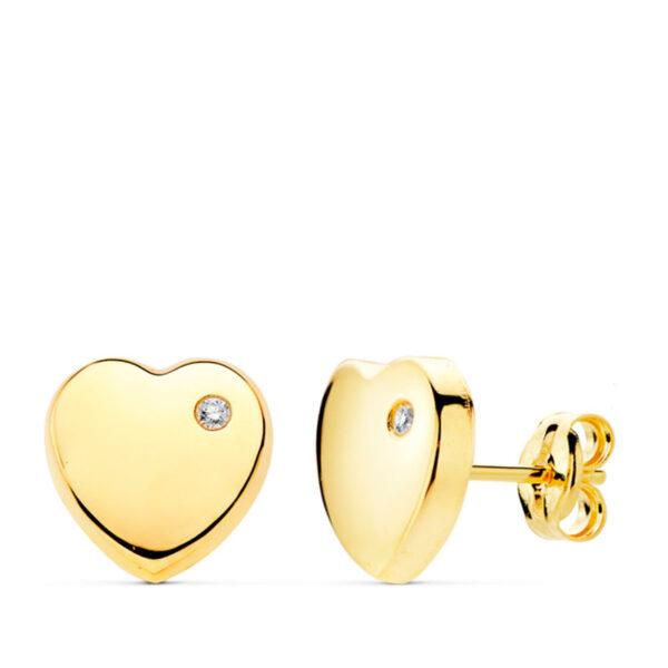 Pendientes de oro niña corazón circonio