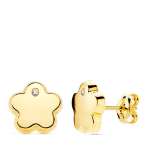 Pendientes de oro niña flor circonio