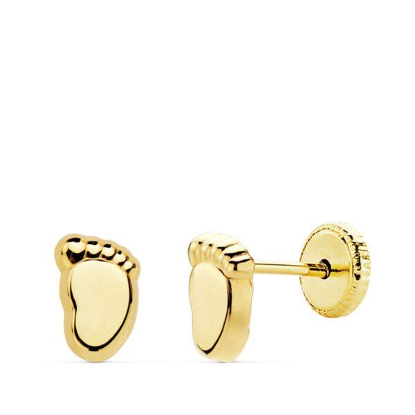 Pendientes de oro pie para bebé