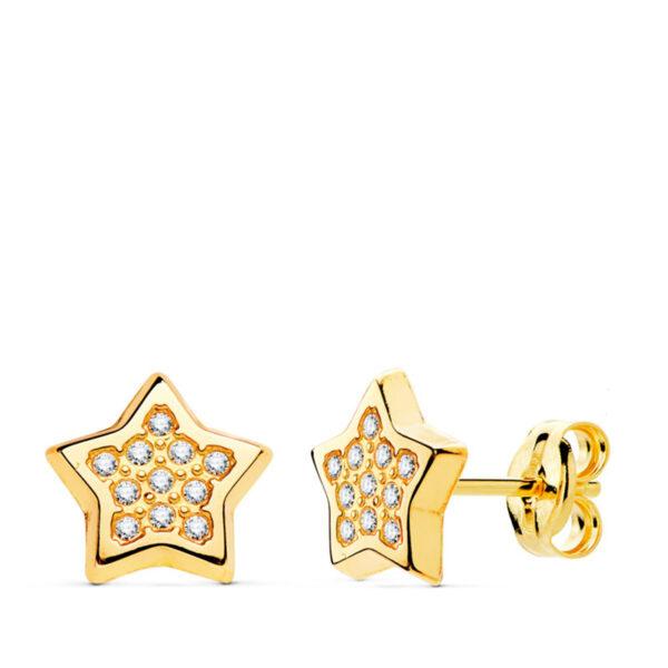 Pendientes de oro niña estrella circonio Selin