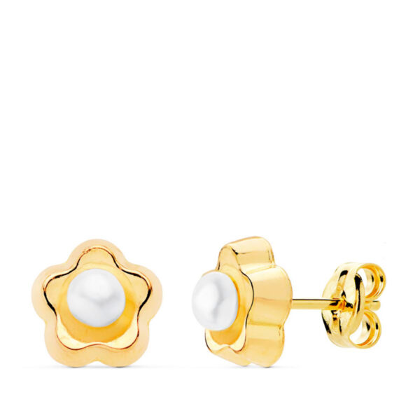 Pendientes de oro para niña flor perla