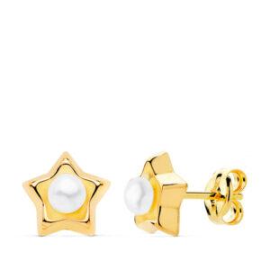 Pendientes de oro para niña perla estrellas