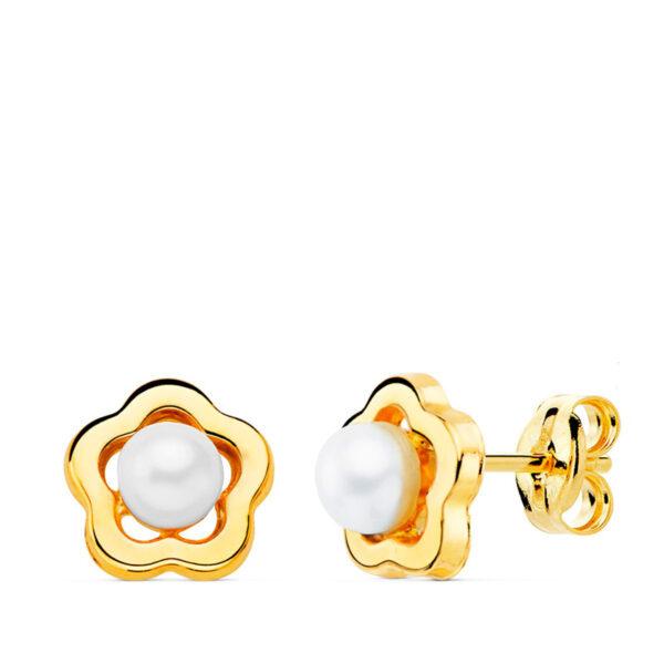 Pendientes de oro niña perla flor