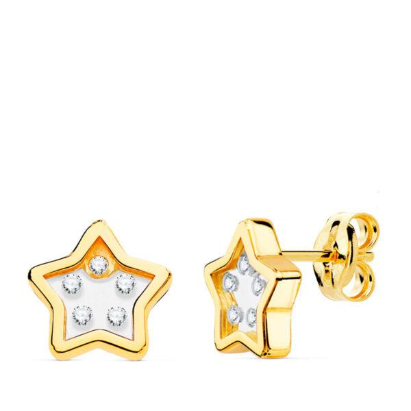 Pendientes de oro niña estrella circonio Lirio