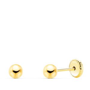 Pendientes de oro niña bola