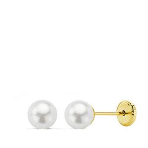 Pendientes de oro perla para bebé