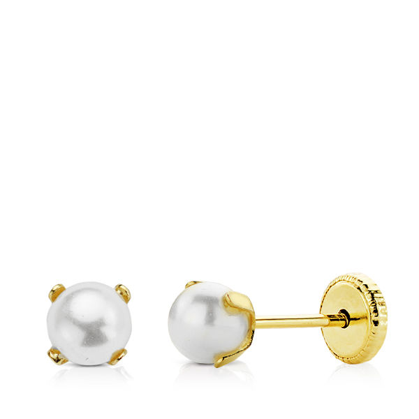 Pendiente de oro perlas con garra