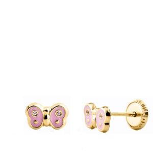 Pendientes de oro mariposas para bebé