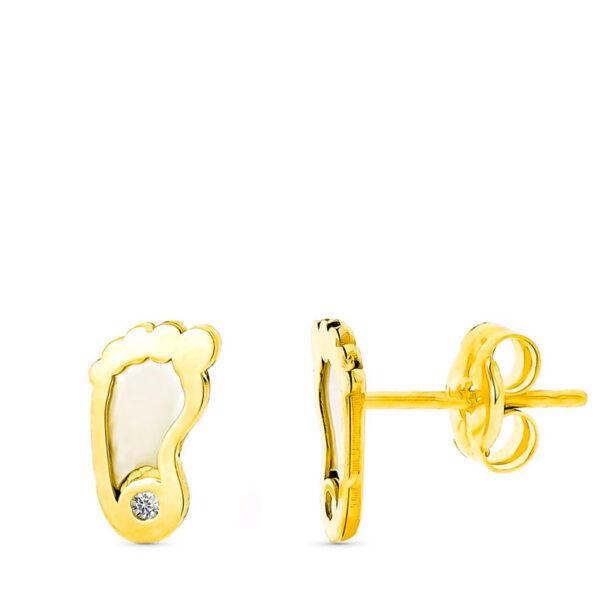 Pendientes de oro niña nacar pie