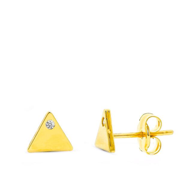 Pendiente de oro niña triangulo circonio