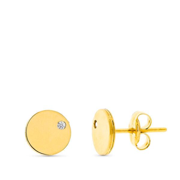 Pendientes de oro niña circonio esfera