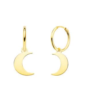 aros en oro colgante luna