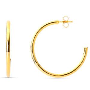 aros abiertos en oro 30x2mm