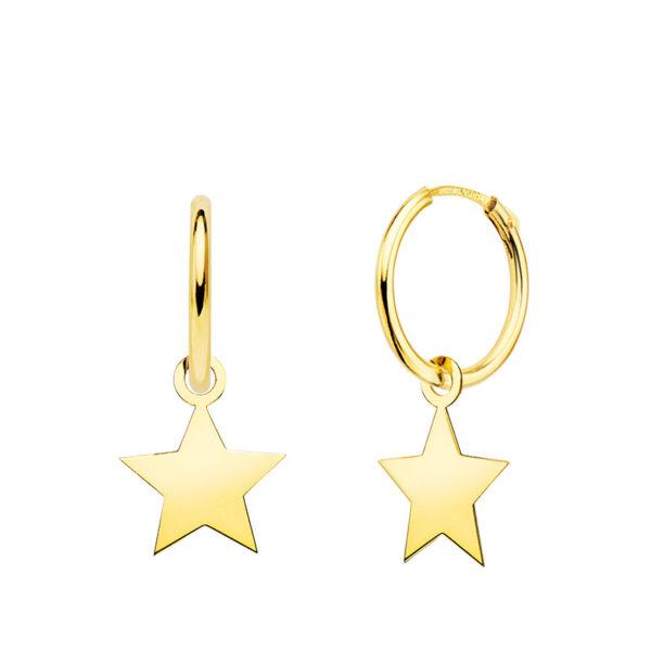 aros en oro colgante estrella