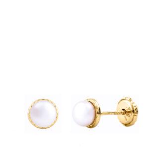 Pendientes de oro media perla tallado para bebé