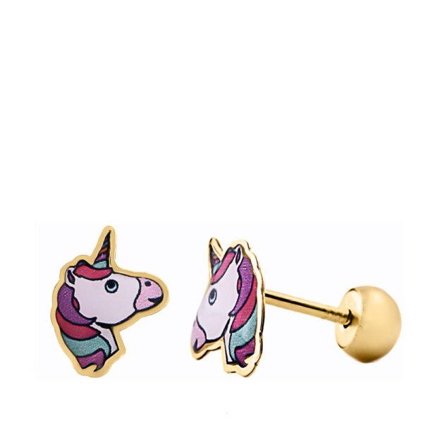 Pendientes de oro unicornio para bebé