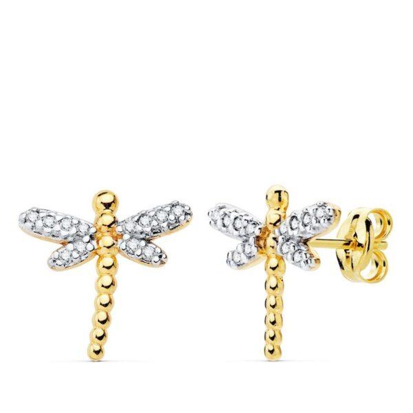 pendientes de oro y circonitas libélula