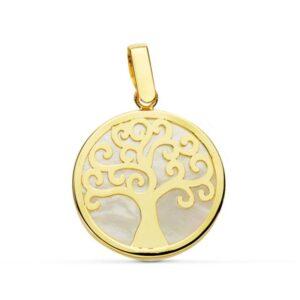 colgante oro y nácar árbol de la vida