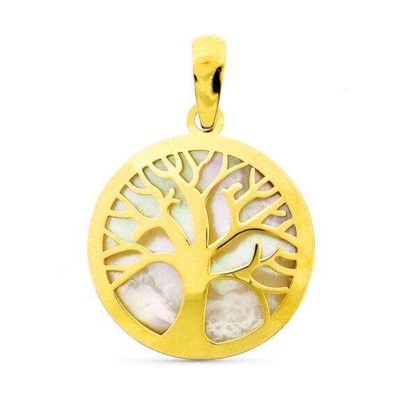 colgante árbol de la vida - nácar y oro