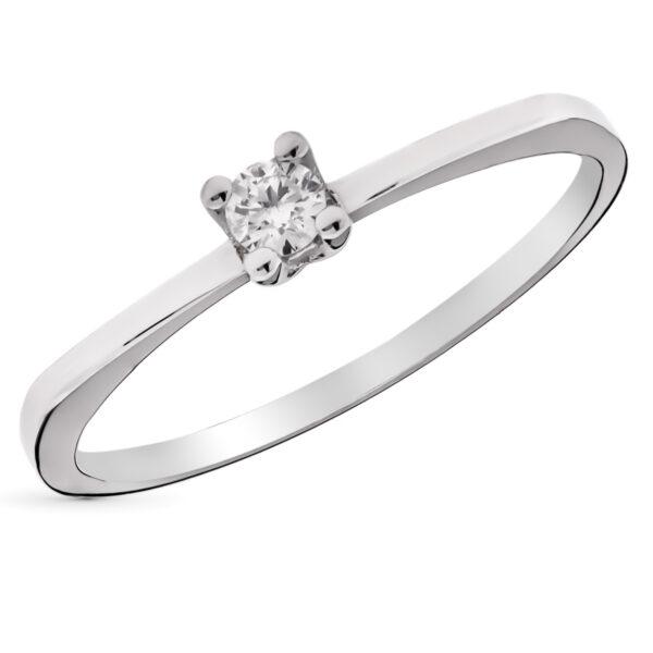 solitario diamante en oro blanco anillo de pedida
