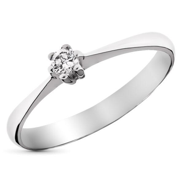 solitario diamante oro blanco 18k anillo de pedida