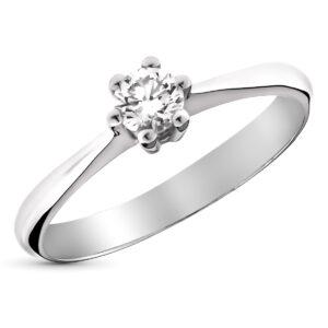 Solitario en oro blanco y diamante
