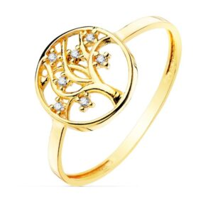 anillo de oro árbol de la vida