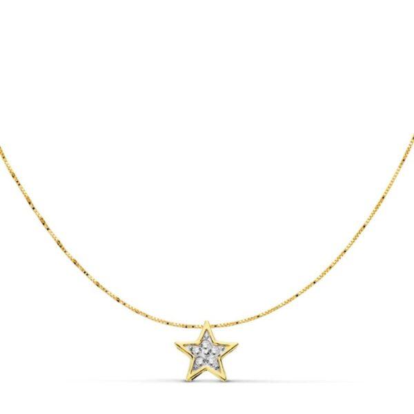 gargantillas de oro y circonitas estrella
