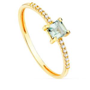 Anillo diamante Agua marina