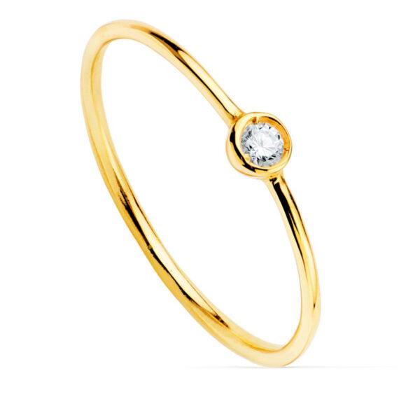 Solitario diamante chatón oro de 18 quilates