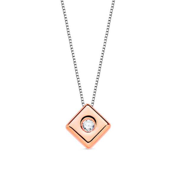 Gargantilla de diamante modelo Rombo en oro rosa