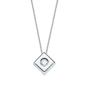 Gargantilla de diamante chatón oro blanco