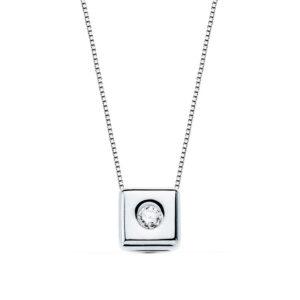 Gargantilla de diamante en oro blanco 18k