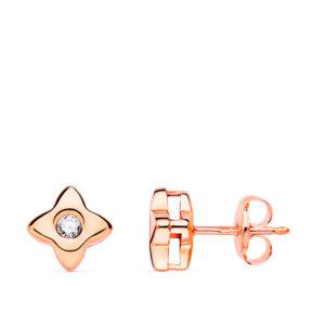 pendiente estrella oro rosa y diamante