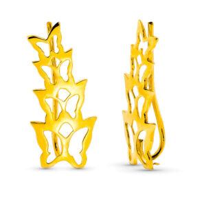 pendientes trepadores oro mariposas