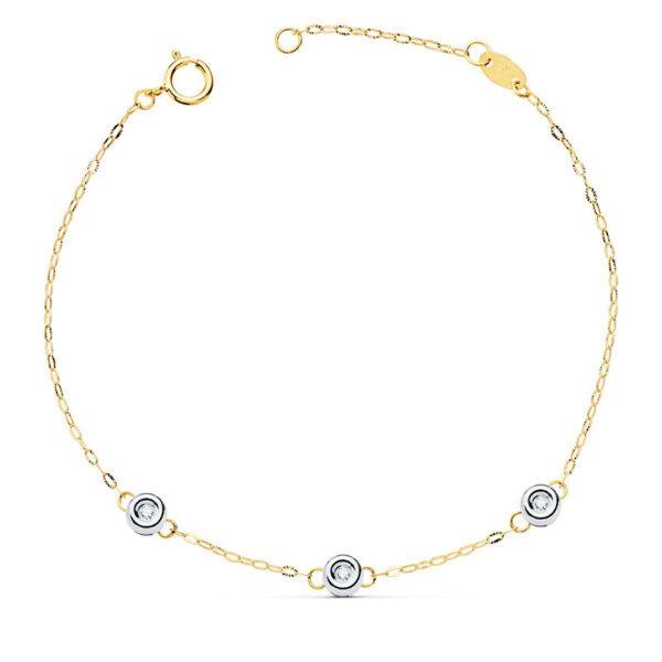 Pulsera de oro cadena forzada y diamantes