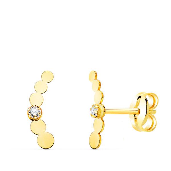 Pendientes trepadores mini círculos en oro