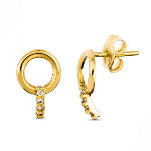Pendientes trepadores en oro y circonitas