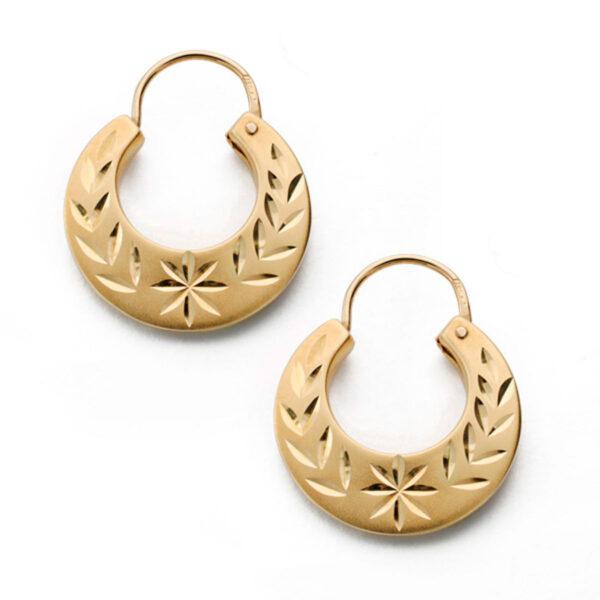 pendientes criollas en oro tallada